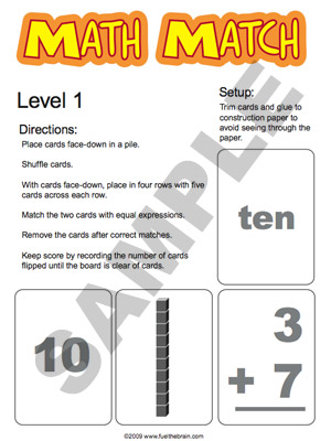 Math Match Level 1 - Printable