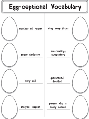 Egg-ceptional Vocabulary - Printable