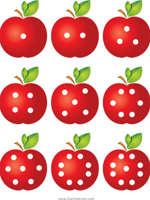 Apple Pairs - Dot Patterns - Printable