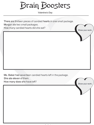 Valentines Day Brain Booster - Printable