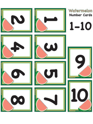 graphic about Printable Numbers 1-10 called Watermelon Quantity Playing cards 1-10 Gas the Intellect