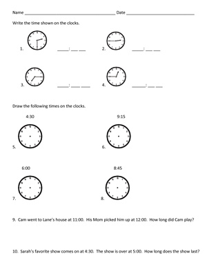 Time to 15 minutes - Printable