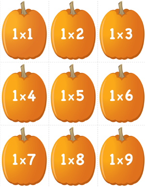 Pumpkin Concentration - Multiplication Facts 1 - Printable
