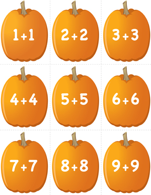 Pumpkin Concentration - Doubles Addition - Printable