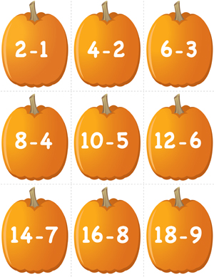 Pumpkin Concentration - Doubles Subtraction - Printable