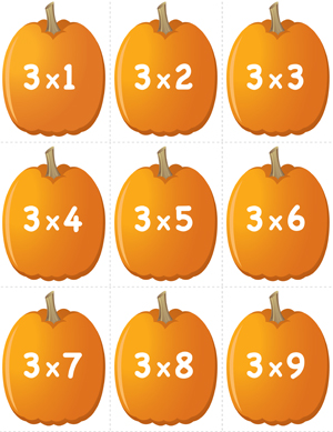 Pumpkin Concentration - Multiplication Facts 3 - Printable