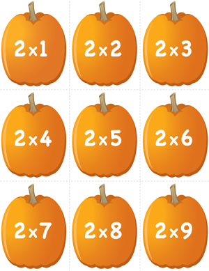 Pumpkin Concentration - Multiplication Facts 2 - Printable