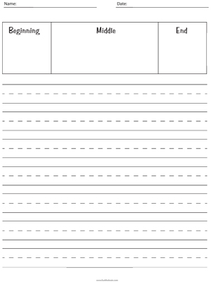 Writing Paper - Handwriting Lines with Story Plan Box - Printable