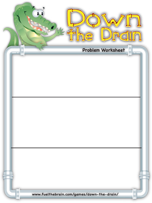 Down the Drain Problem Worksheet - 3 sections - Printable